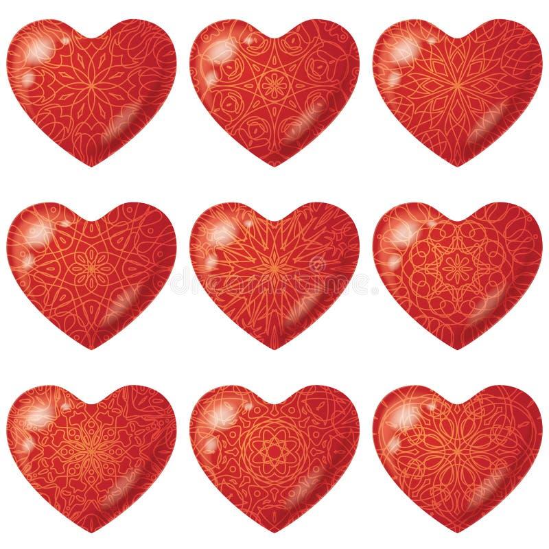 Сердца валентинки красные с картиной, комплектом иллюстрация штока
