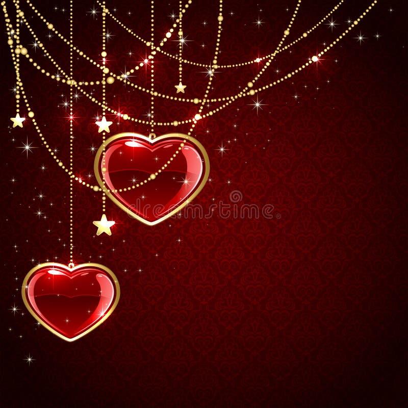 Сердца валентинок на красной предпосылке бесплатная иллюстрация