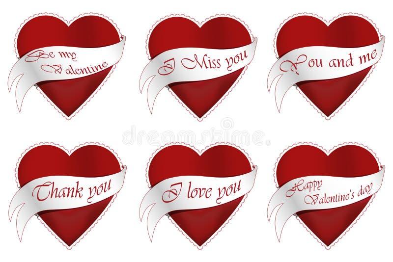 Сердца 6 валентинок иллюстрация вектора