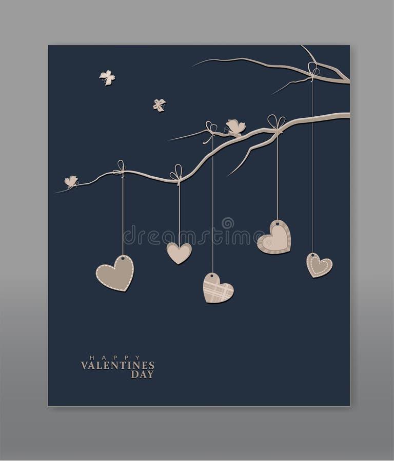 Сердца вися на ветви дерева иллюстрация штока