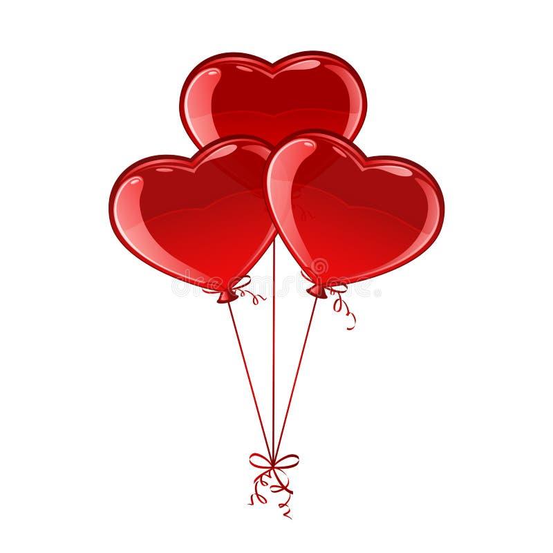 3 сердца воздушного шара иллюстрация вектора
