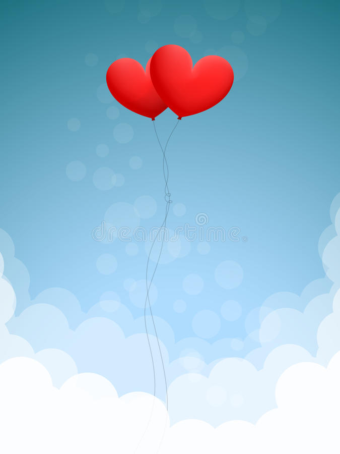 2 сердца в небе иллюстрация вектора