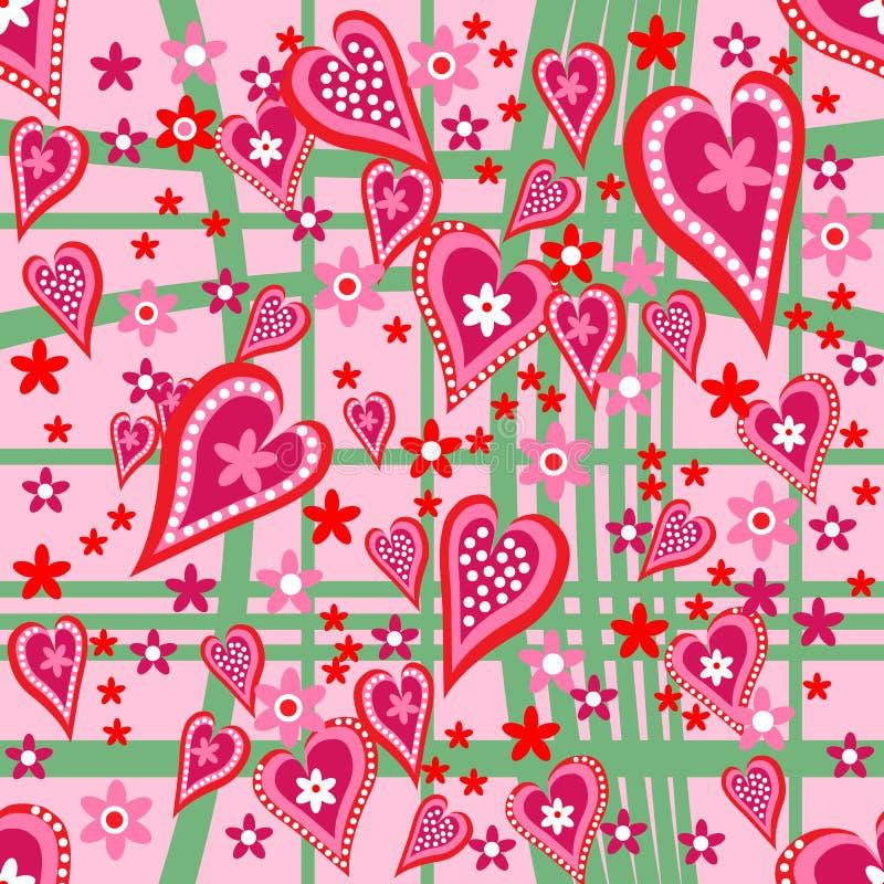 Сердца и картина цветков безшовная стоковая фотография