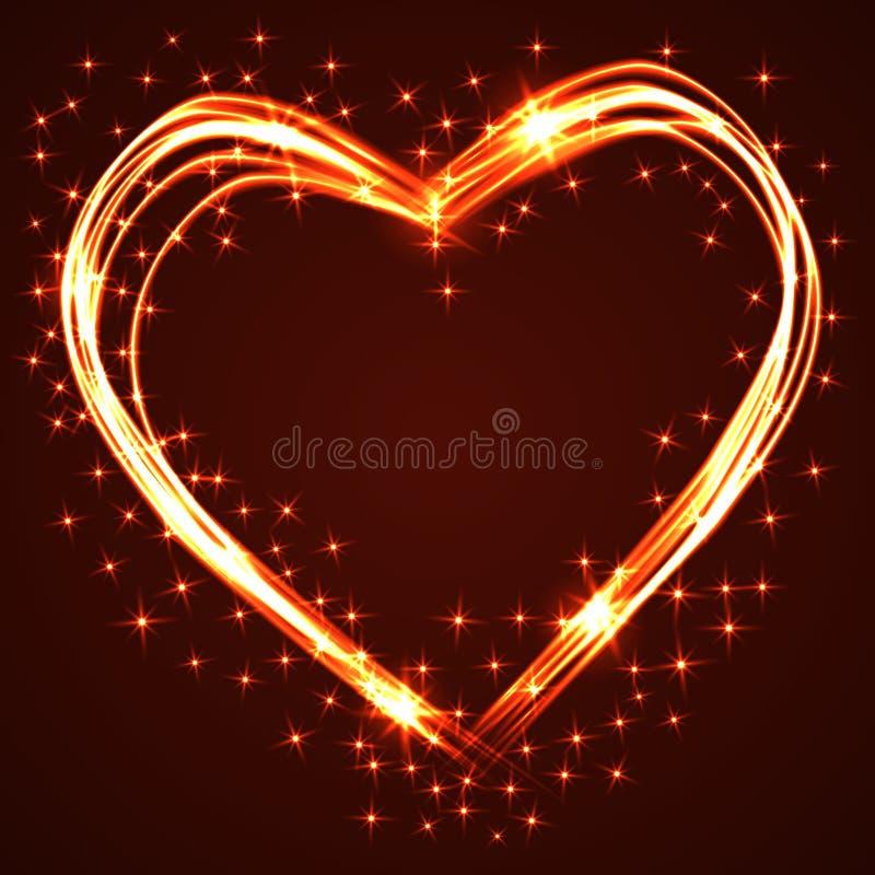 Сердца красивых и потехи нарисованные рукой плазмы или неона пересекая с различными световыми эффектами, улучшают для ` s валенти стоковое изображение rf
