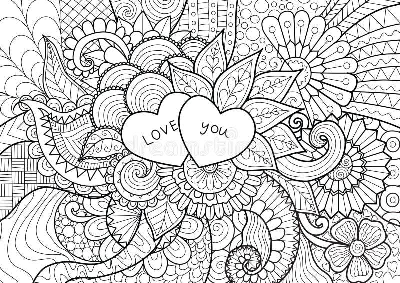 2 сердца кладя на цветки для книжка-раскраски, карточек и предпосылки иллюстрация вектора