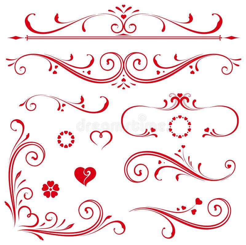Сердца переченя установленные иллюстрация вектора