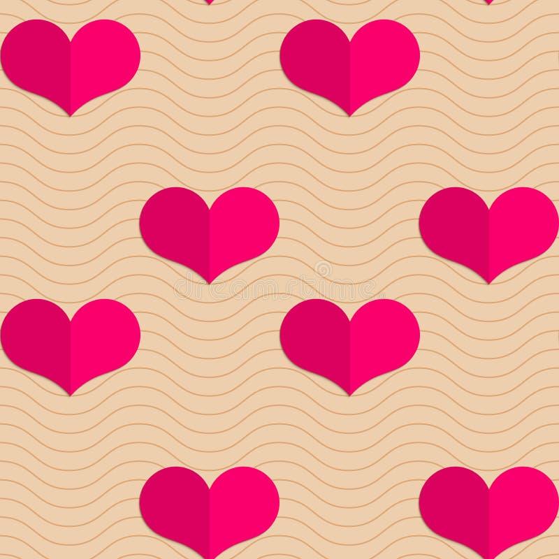 Сердца ретро створки малые розовые на волнах иллюстрация вектора