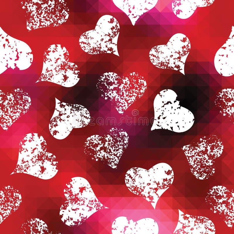 Сердца Grunge на красной предпосылке пикселов бесплатная иллюстрация