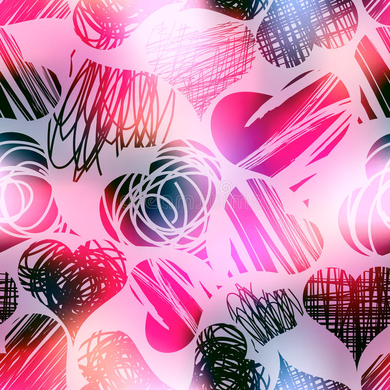 Сердца Grunge на предпосылке пинка нерезкости иллюстрация вектора