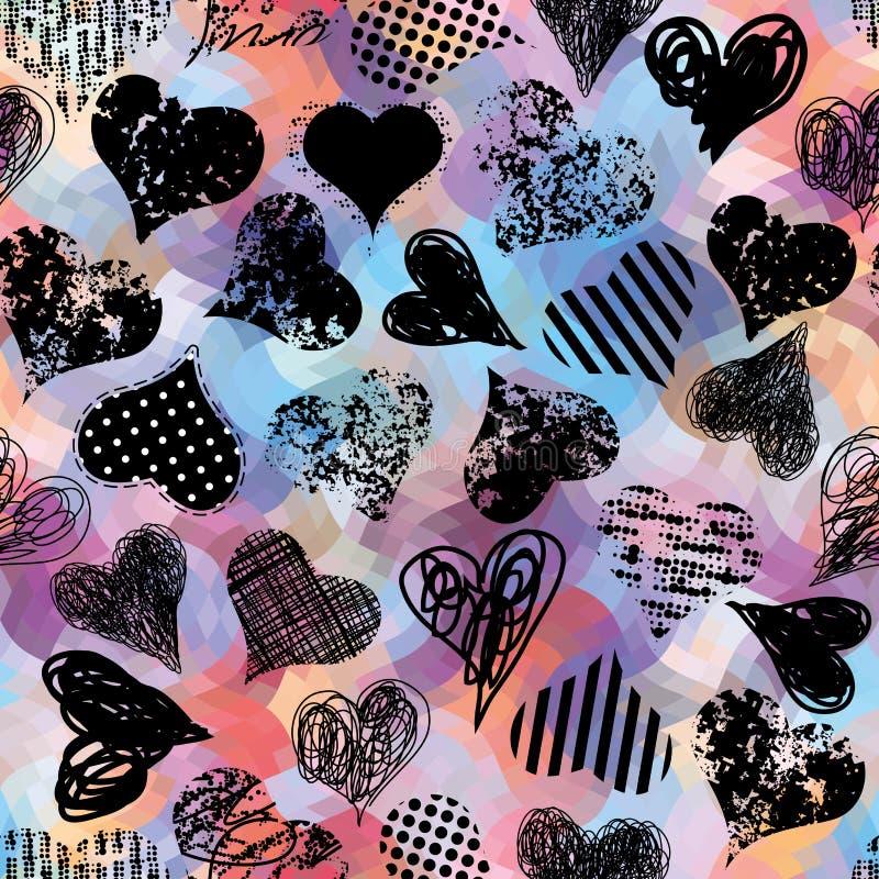 Сердца Grunge черные бесплатная иллюстрация