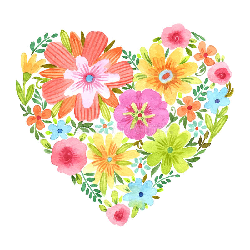 Сердце акварели цветков бесплатная иллюстрация