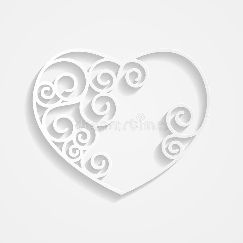 Сердце белой бумаги на белизне иллюстрация штока