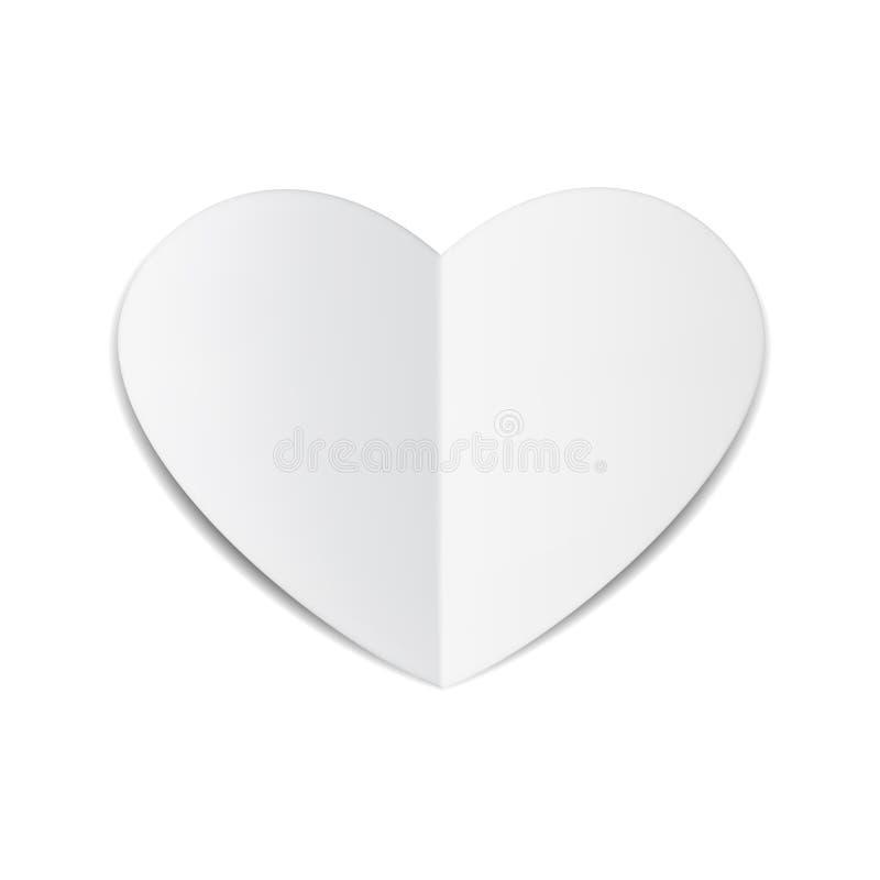 Сердце белой бумаги иллюстрация вектора