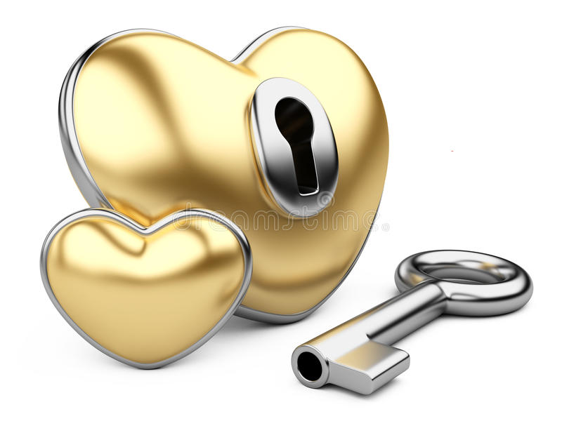 Сердце валентинки золота с keyhole и ключом. иллюстрация вектора