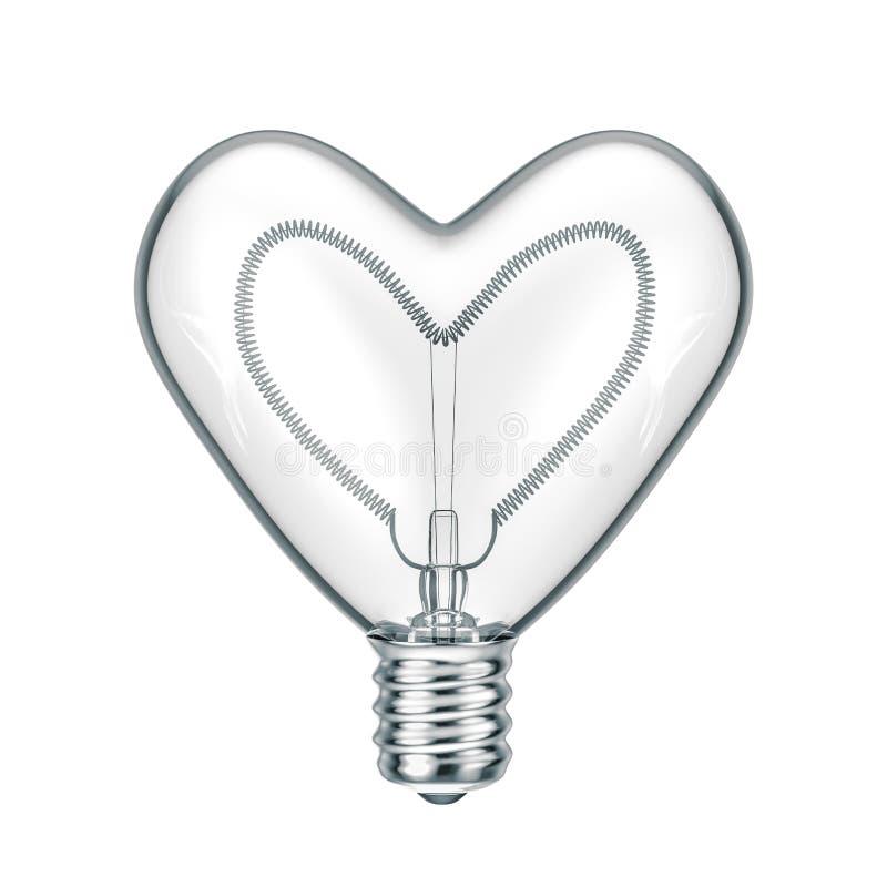 сердце внутри символа lightbulb сверкная стоковая фотография