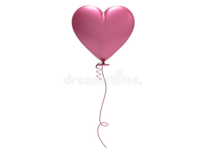 сердце воздушного шара пинка иллюстрации 3D иллюстрация вектора