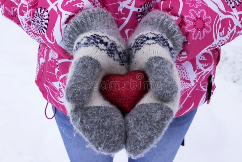 Сердце в руках ` s девушки Молодая женщина держа сердце, зиму стоковое фото rf