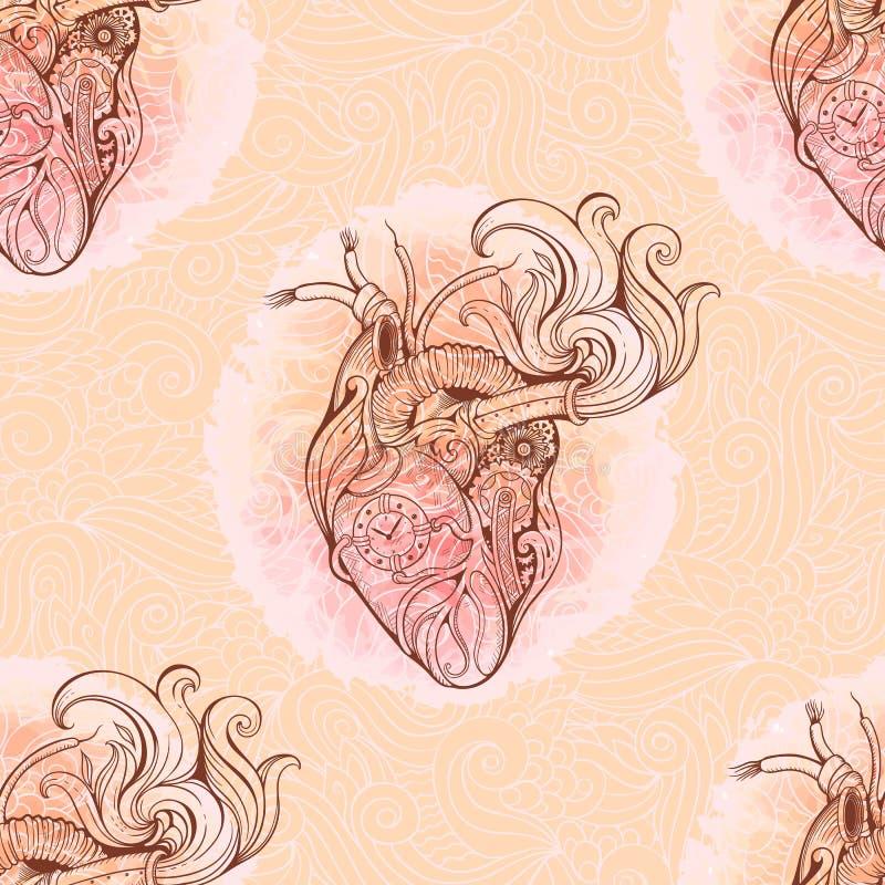 Сердце в стиле steampunk с флористической предпосылкой иллюстрация штока
