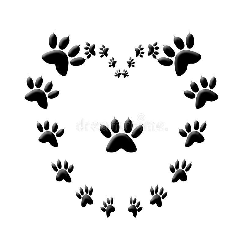 Сердце влюбленности печати лапки кота   стоковая фотография