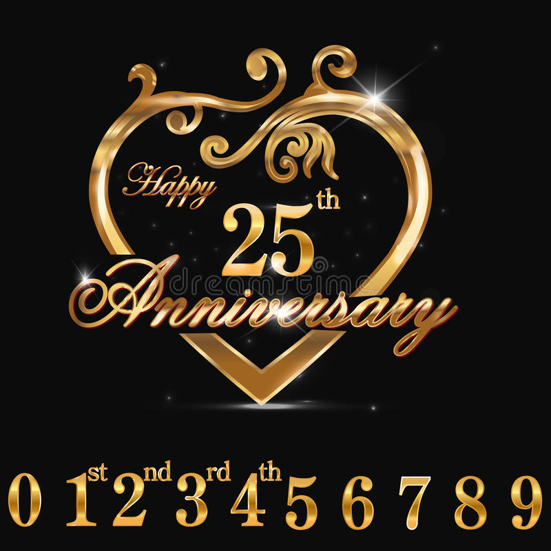 сердце годовщины 25year золотое, дизайн сердца 25th годовщины декоративный золотой иллюстрация вектора