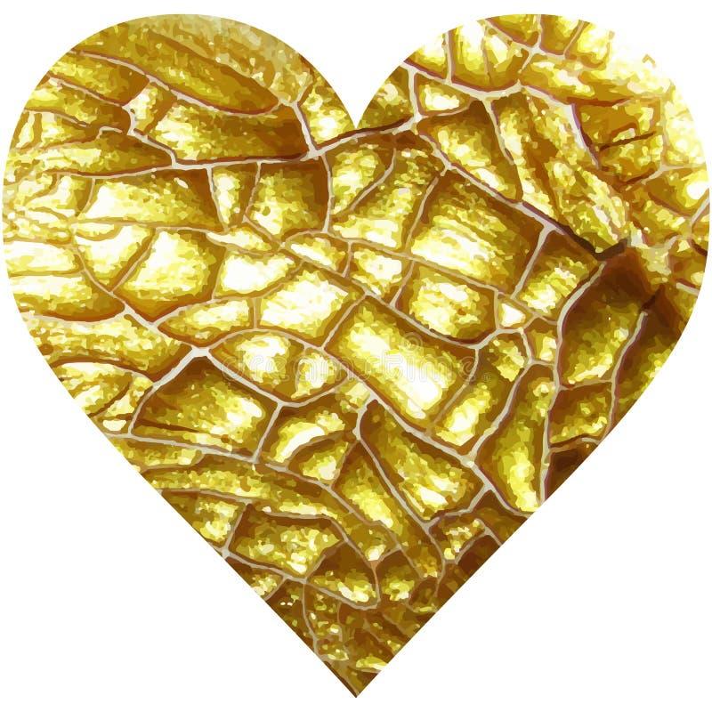 Сердце золота блестящее текстурированное иллюстрация штока