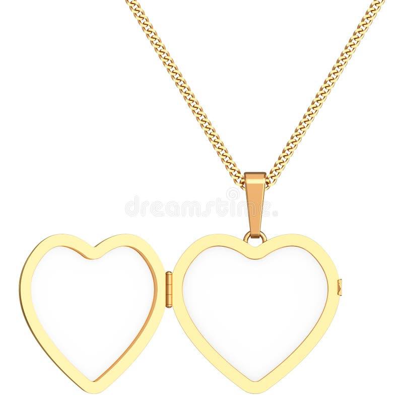 Сердце золота сформировало locket на цепи изолированной на белизне иллюстрация штока