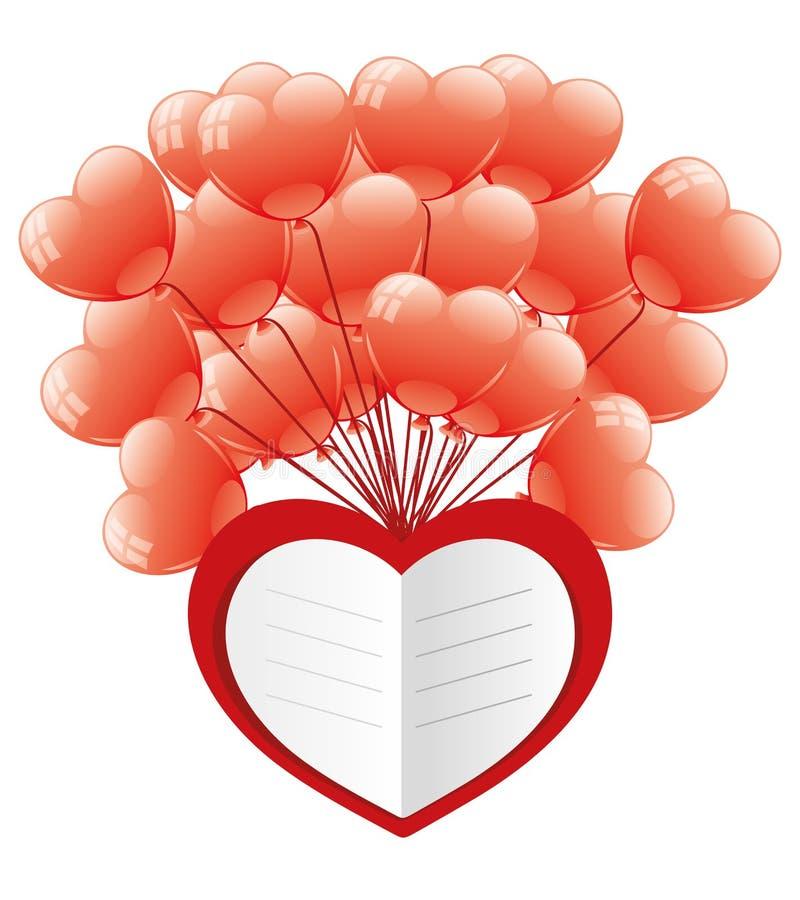 Сердце и воздушные шары влюбленности иллюстрация штока