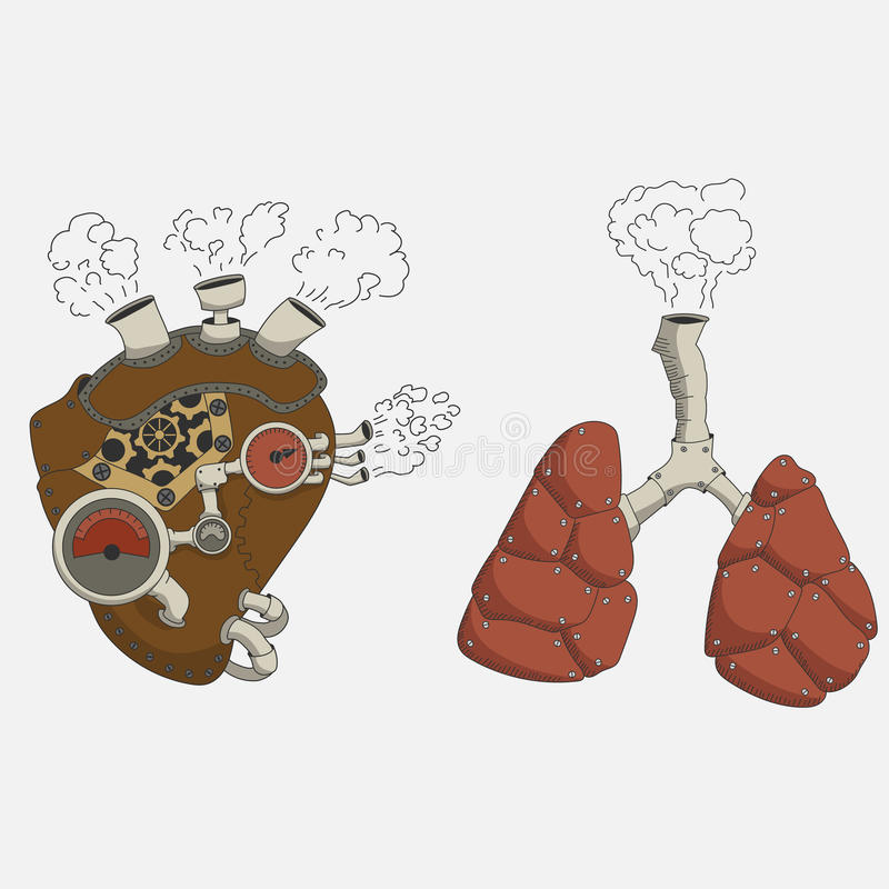 Сердце и легкие Steampunk иллюстрация штока
