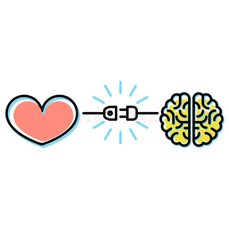 Сердце и концепция взаимодействий мозга - соединение электрической штепсельной вилки иллюстрация штока