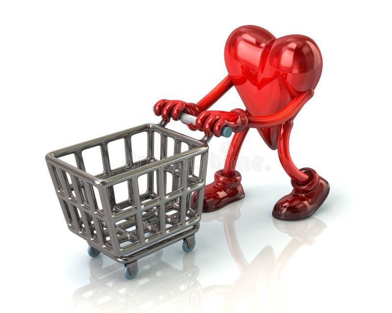 Сердце и магазинная тележкаа иллюстрация штока