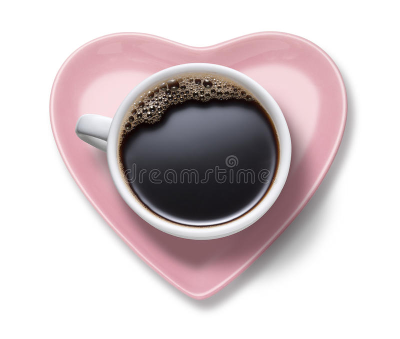 Сердце кофейной чашки влюбленности стоковое изображение rf