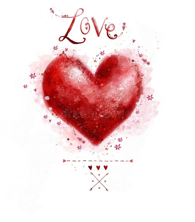 Сердце красного цвета акварели вектор изображения иллюстрации элемента конструкции Сохраньте предпосылку даты сбор винограда бума иллюстрация штока