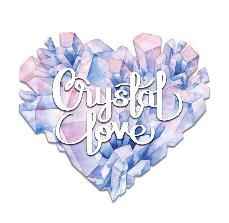 Сердце кристалла акварели иллюстрация штока