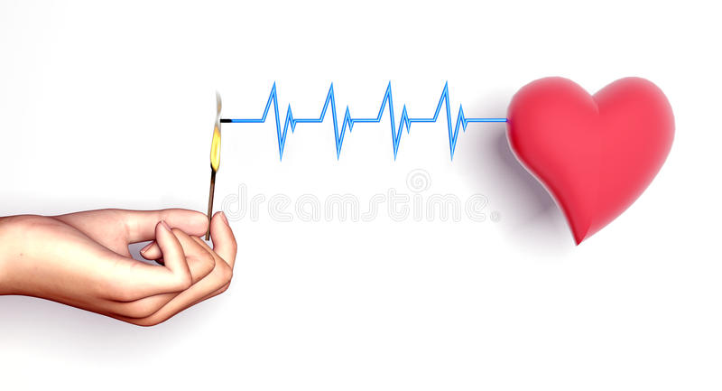 сердце нападения держит человека бесплатная иллюстрация