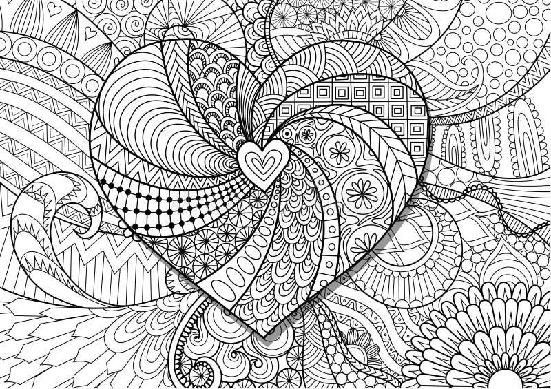 Сердце на дизайне zendoodle цветков для взрослой страницы книжка-раскраски Вектор запаса бесплатная иллюстрация