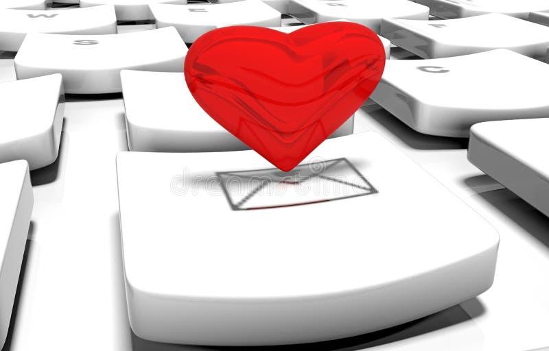 Сердце на клавиатуре компьютера иллюстрация штока