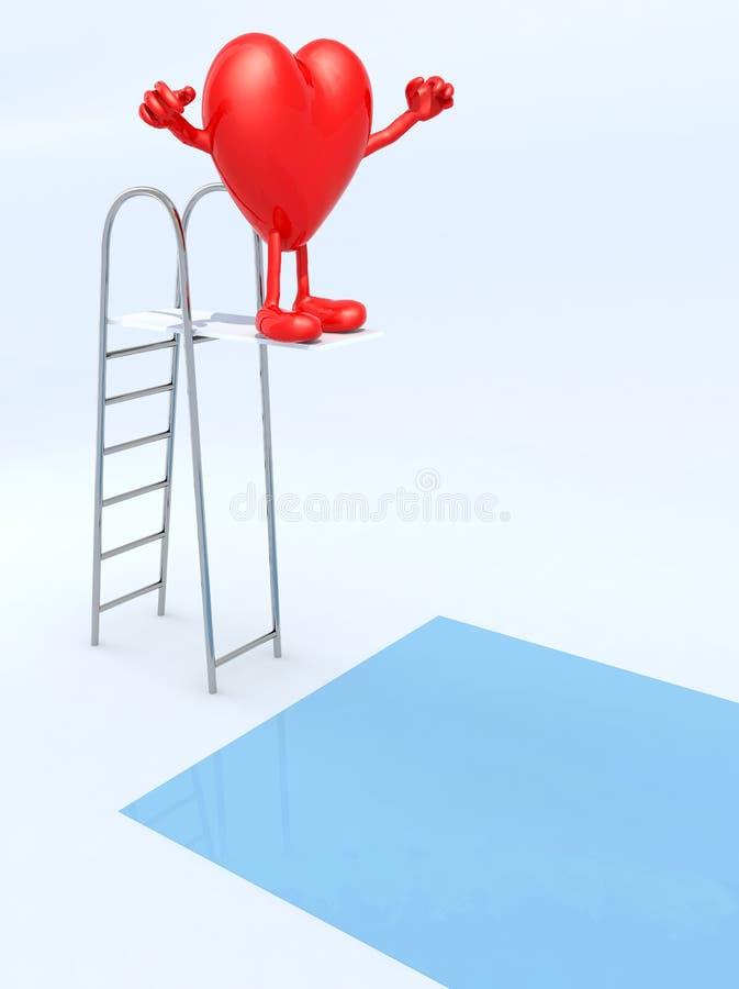 Сердце на погружении батута в бассейне иллюстрация штока
