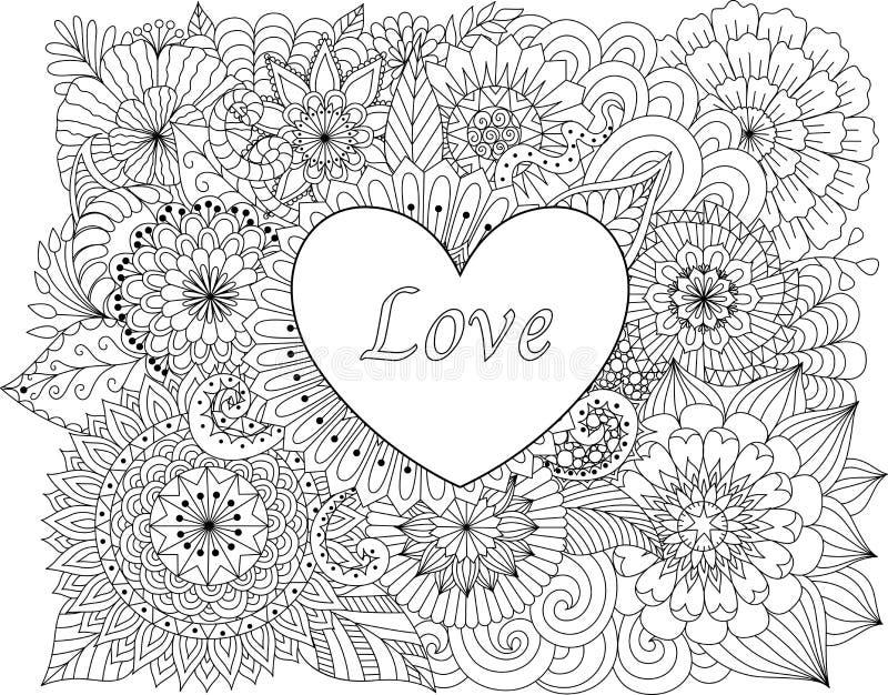 Сердце на цветках для книжка-раскрасок для карточки взрослого или валентинок бесплатная иллюстрация