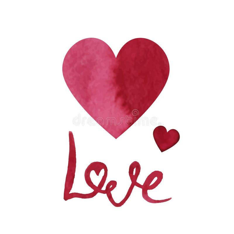 Сердце дня валентинок акварели и влюбленность литерности элемент конструкции ваш прочешите вектор Валентайн иллюстрации s приветс иллюстрация штока