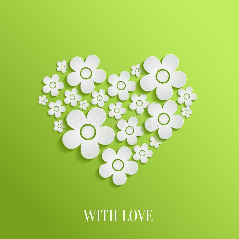 Сердце дня ` s валентинки белых цветков иллюстрация штока