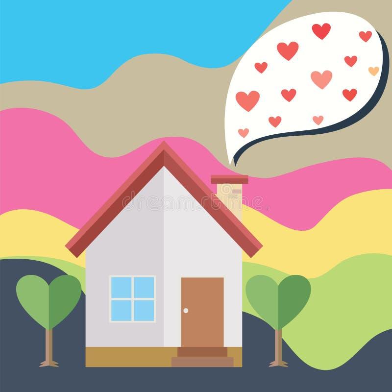 Сердце дома и воздушного шара иллюстрация штока