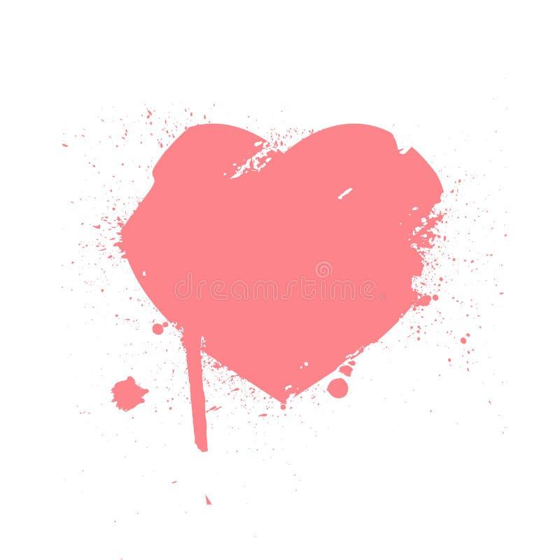 Сердце от ходов щетки Текстура огорченная Grunge Покрашенный символ влюбленности Нарисованный рукой элемент дизайна для карточки  бесплатная иллюстрация