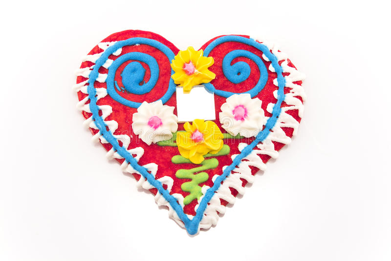 Сердце печений пряника изолированное на белизне стоковые фотографии rf