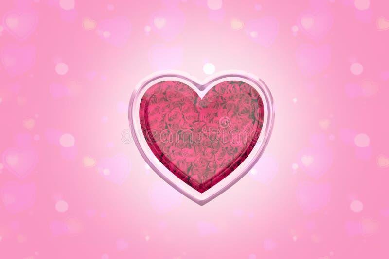 Сердце предпосылки розовое подняло стоковые изображения