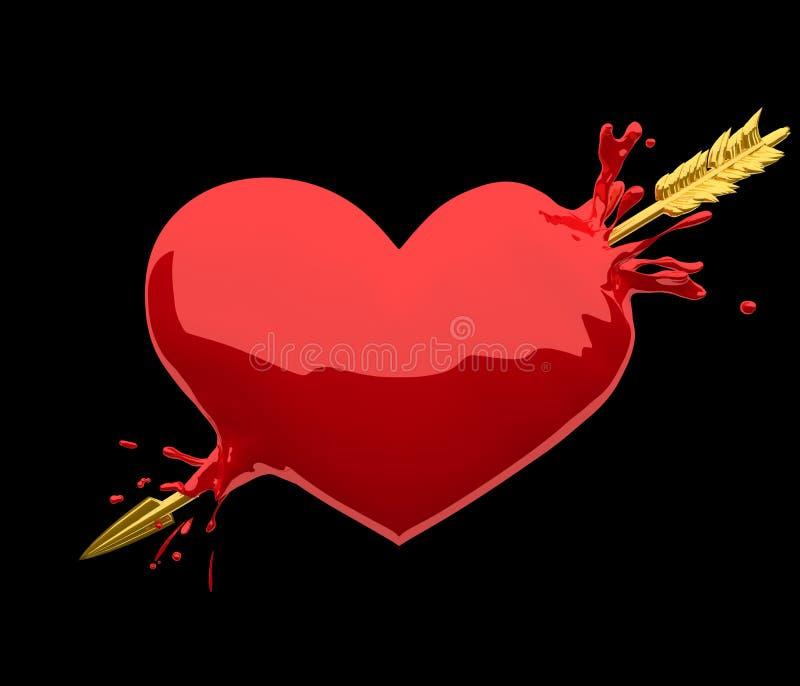 Сердце прорезанное золотой стрелкой иллюстрация вектора