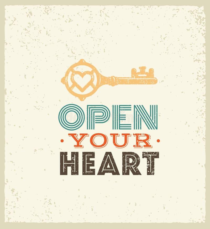 сердце раскрывает ваше Милая причудливая цитата мотивировки Концепция оформления вектора выдающая на предпосылке Grunge иллюстрация штока