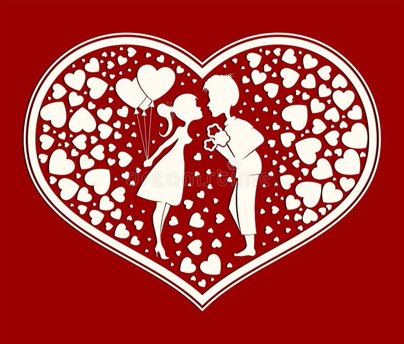 Сердце силуэта в мальчике и девушке влюбленности иллюстрация вектора