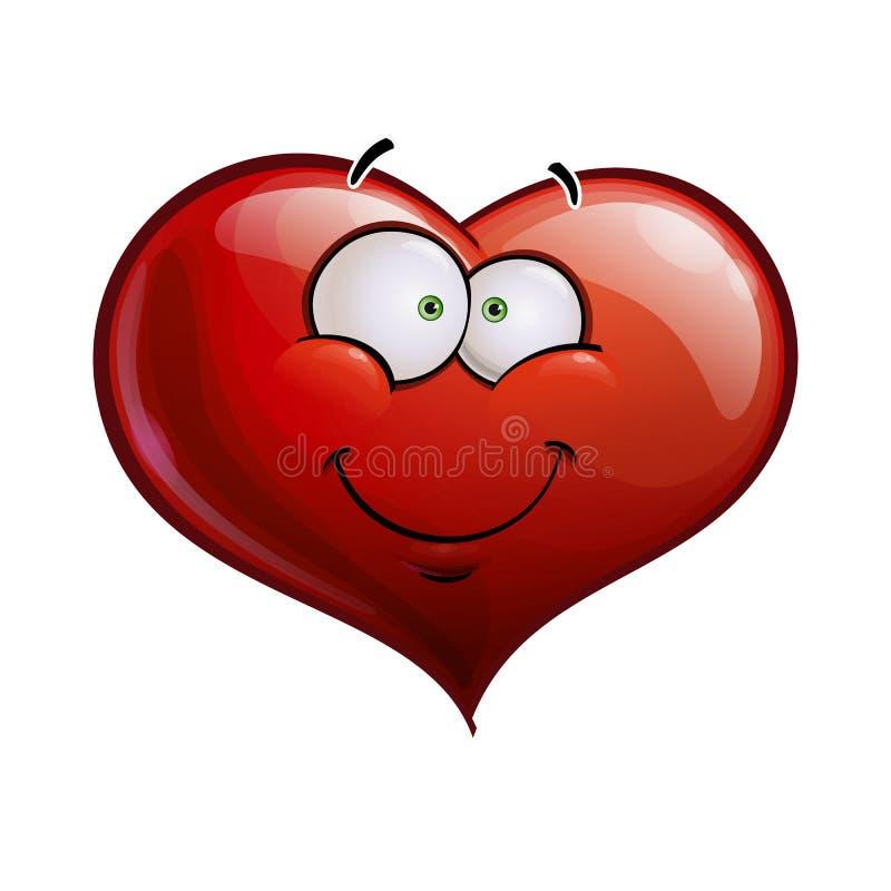 Сердце смотрит на счастливые смайлики - усмехающся бесплатная иллюстрация