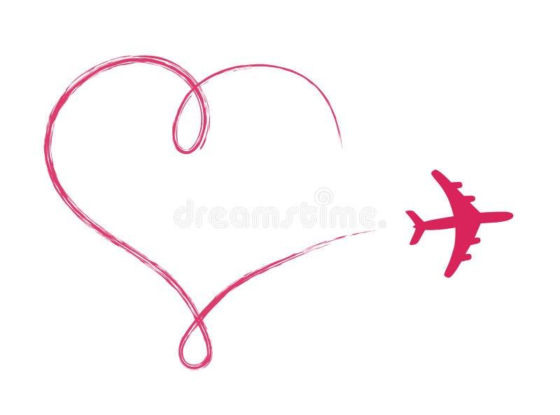 Сердце сформировало значок в воздухе, сделанном самолетом иллюстрация вектора