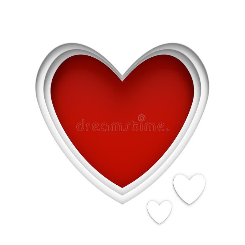 Сердце сформировало рамку над красной предпосылкой с разбивочным космосом для сообщения дня валентинок иллюстрация штока